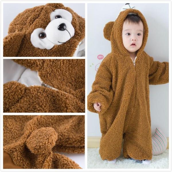 24ababb64cb74 ... 2色・5サイズ・カバーオール くまさん 着ぐるみ 厚手 もこもこ 赤ちゃん 子供用 熊 ...