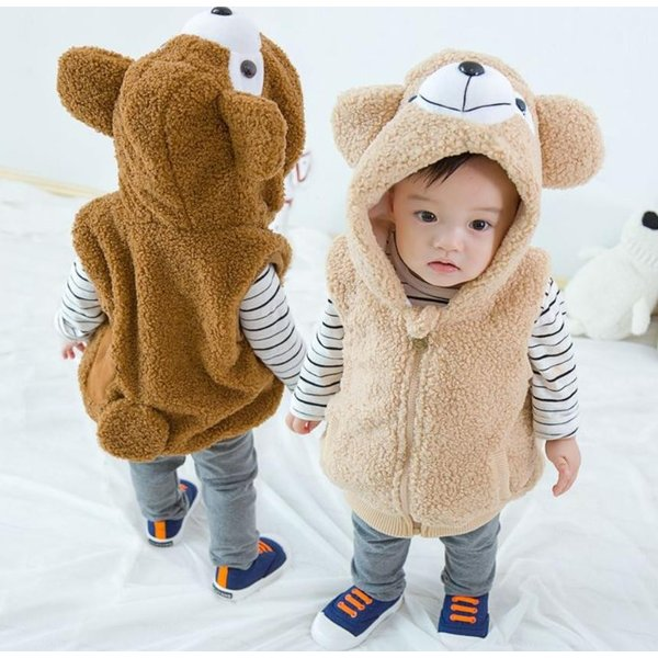 0f5b178e283bb もこもこベストくまさん 着ぐるみ もこもこ 厚手 赤ちゃん 子供用 熊ちゃん ロンパース クマさん カバーオール