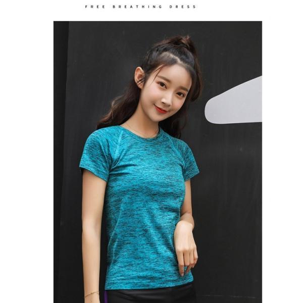 スポーツウェア レディース 速乾シャツ Tシャツ ヨガ マラソン ジム フィットネス|smilegirls|15