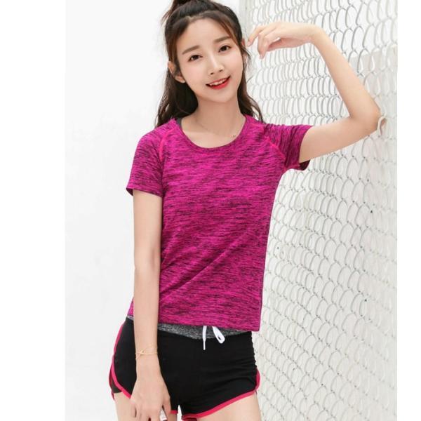スポーツウェア レディース 速乾シャツ Tシャツ ヨガ マラソン ジム フィットネス|smilegirls|08