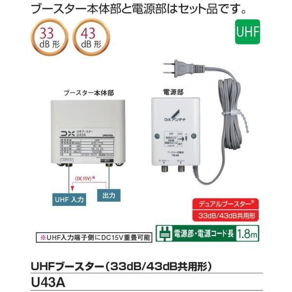 DXアンテナUHFブースター33dB/43dB共用形U43A(BU433D1相当品)