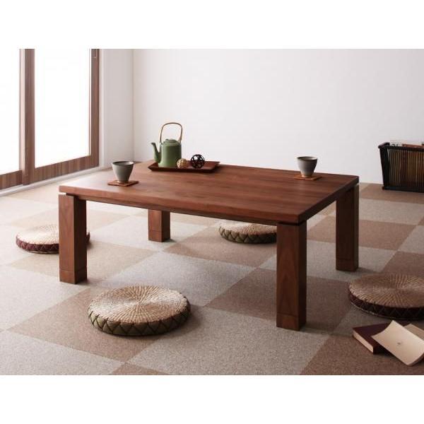 天然木ウォールナット材 和モダンこたつテーブル STRIGHT ストライト 長方形 105×75cm ウォールナットブラウン