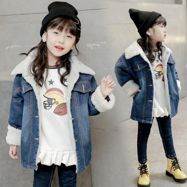 7adb7bbf70925 韓国子供服 デニムコート 裹ボア 女の子 キッズ ロングデニムコート 子供用 トップス 冬