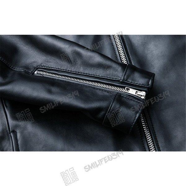 ただ今20%OFFキャンペン実施中 ライダースジャケット メンズ レザージャケット 羊革 ライダース ジャケット シングル ダブルライダース|smilife0319|06