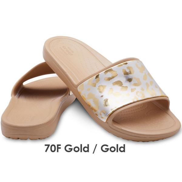 クロックス crocs レディース サンダル 205133 スローン グラフィック メタリックスライド w シャワーサンダル コンフォートサンダル レオパード柄 70F ゴールド