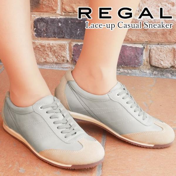 リーガル REGAL ローカットスニーカー 革靴 レディース BE57 レースアップシューズ ウォーキング ぺたんこ靴 グレー GY hawks202110