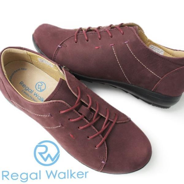 リーガルウォーカー REGAL WALKER コンフォートシューズ 本革 レザー レディース HB48 3E 4E 調節可能 レースアップシューズ ウォーキング ワイン