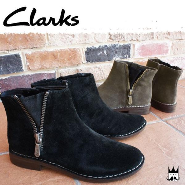 クラークス Clarks レディース ブーツ 933F Cabaret Ruby キャバレールビー ショートブーツ スエード 本革 レザー 本革ブーツ フェイクファスナー ヒール約2.5cm