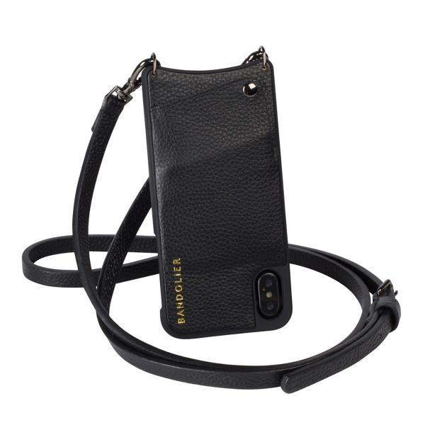 59d374d495 BANDOLIER バンドリヤー iPhone XR ケース ショルダー スマホ アイフォン レザー EMMA PEWTER メンズ レディース  ブラック 10EMM1001