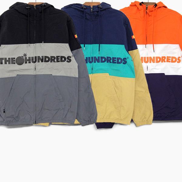 ザハンドレッズ THE HUNDREDS ウインドブレーカー 撥水 パーカー ジャケット PORT JACKET T19P203014 ブラック ネイビー オレンジ ロゴ カラー 切替 トップス