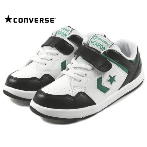 10%OFF 子供 コンバース CONVERSE KIDS WEAPON N キッズ ウエポン N ブラック/ホワイト/グリーン|sneaker-soko