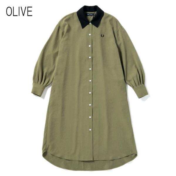 フレッドペリー FRED PERRY ウェア ウーブン シャツ ドレス WOVEN SHIRT DRESS F8519 ブラック(07) オリーブ(46)|sneaker-soko|07