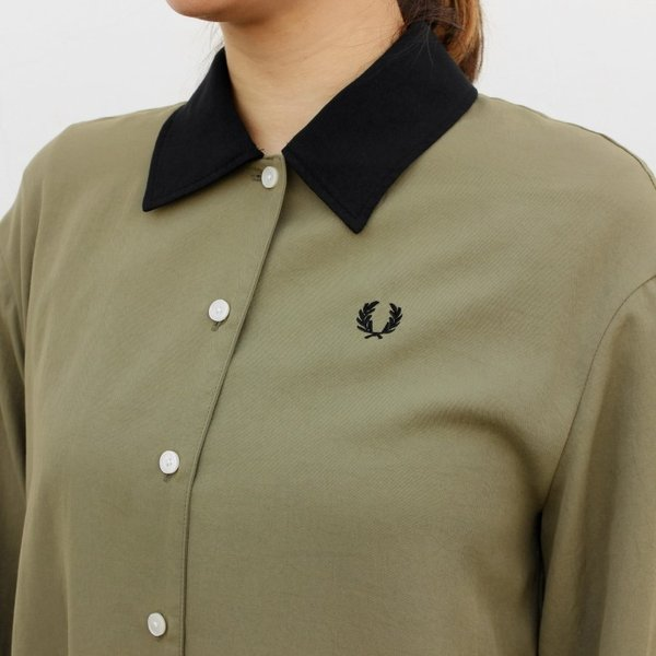 フレッドペリー FRED PERRY ウェア ウーブン シャツ ドレス WOVEN SHIRT DRESS F8519 ブラック(07) オリーブ(46)|sneaker-soko|04