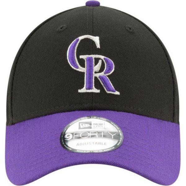 ニューエラ メンズ 帽子 キャップ Men's Colorado Rockies 9Forty Black Adjustable Hat|sneakersuppliers|02
