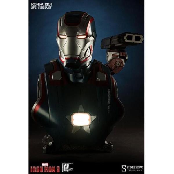 ユニセックス グッズ Sideshow Collectibles Iron Patriot Iron Man 3 Life-Size Bust (blue / red)|sneakersuppliers|05