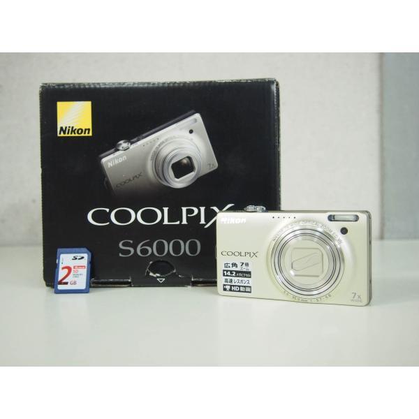 中古美品 ニコンNIKON コンパクトデジタルカメラ COOLPIXクールピクス 1420万画素 S6000 シャンパンシルバー