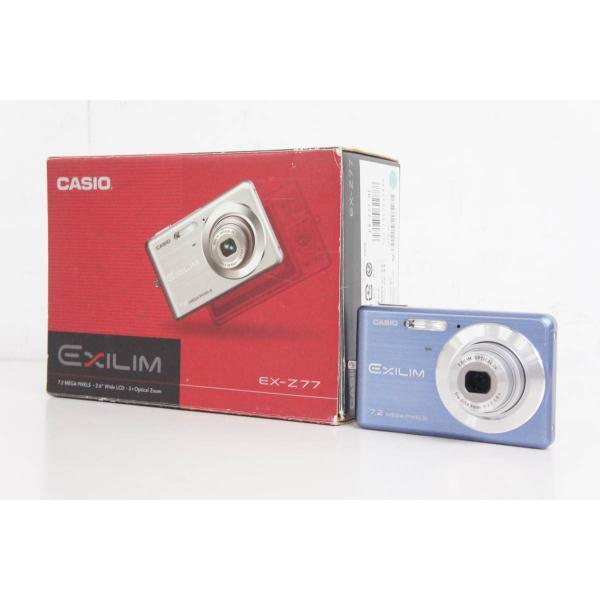 中古 CASIOカシオ コンパクトデジタルカメラ EXILIM エクシリム 720万画素 EX-Z77 ブルー