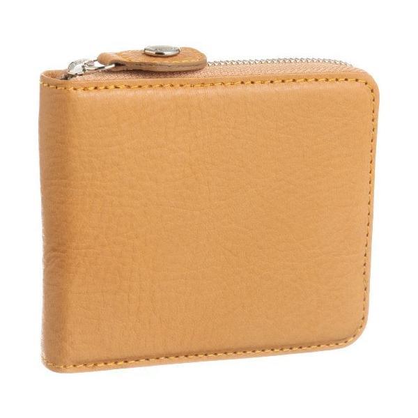 キタムラ 二折財布ラウンドファスナータイプYH0083キャメル/オレンジステッチ 茶色 61421