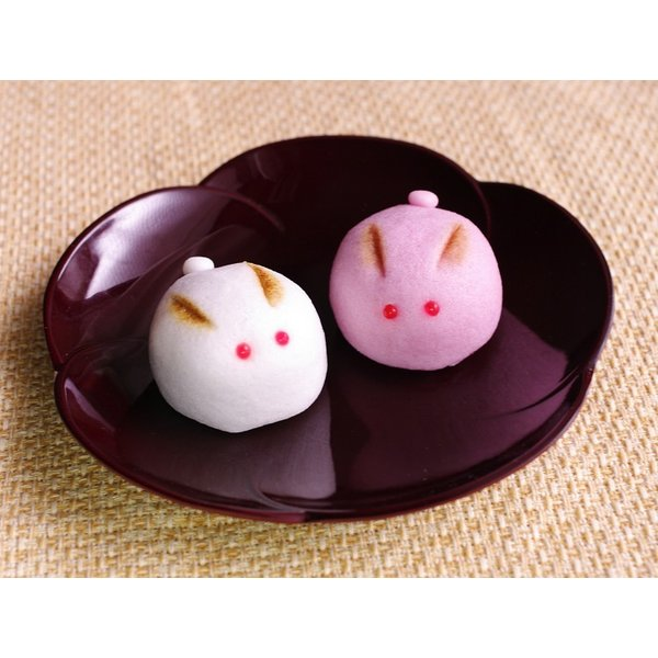 (プチギフト)うさぎの紅白饅頭2ヶ入(和菓子/どうぶつ饅頭)
