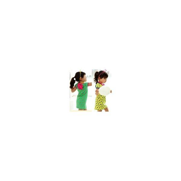 3e553ab13849c 韓国子供服 送料無料 ビビッドカラーがかわいい ドット柄ワンピ×バックリボン キッズ ...