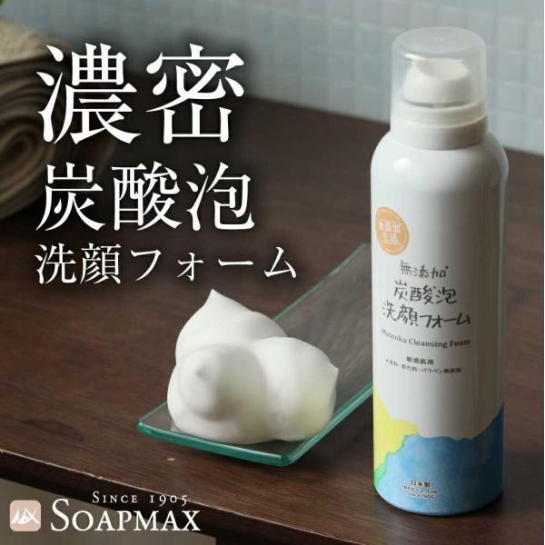 洗顔 泡 フォーム 炭酸 無添加 炭酸泡 洗顔フォーム 泡洗顔 濃密泡 毛穴 美容効果 スキンケア フェイスケア 無香料 無着色 パラベンフリー|soapmax