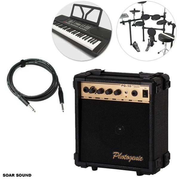 電子ドラムエレドラデジタルドラムキーボードなどにアンプモノラルスピーカー+ケーブル各種セット10W出力あすつく