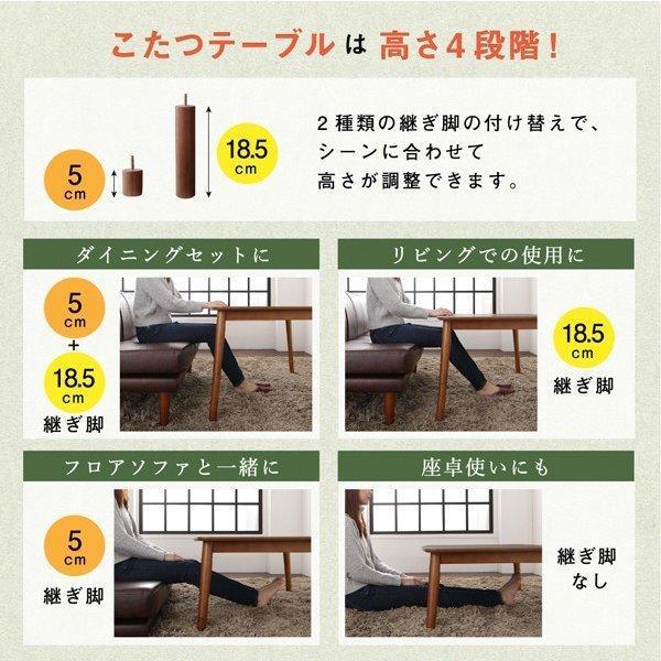 3人用 ダイニングセット 4点 〔こたつテーブル幅105cm+2人掛けソファ×1脚+1人掛けソファ×1脚+コーナーソファ×1脚〕 こたつもソファも高さ調節可|sofa-lukit|14