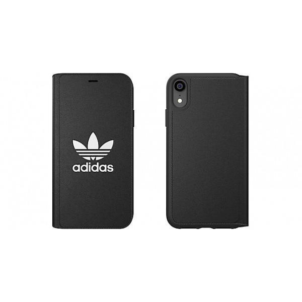 adidas iPhoneXR ケース 手帳型 OR Booklet Case CLASSICS TREFOIL FW18 ブラック/ホワイト|softbank-selection