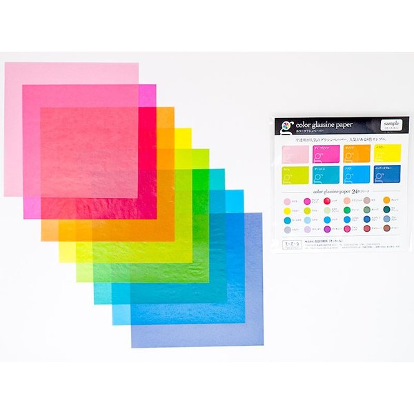 カラーグラシン ストライプ 3色×各20枚入セット カラーグラシンペーパー8色付  折り紙サイズ 半透明ペーパークラフト紙|sokana|04