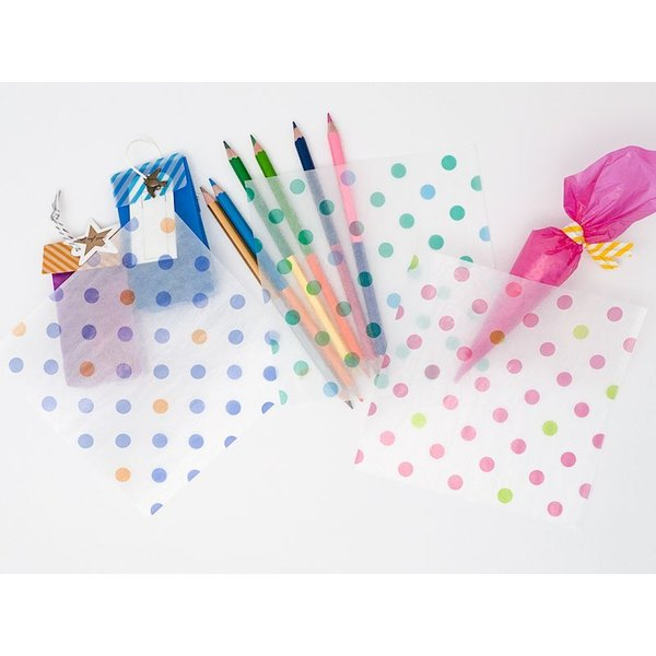 カラーグラシン 水玉+ストライプ 各色5枚入(計30枚)折り紙サイズ 半透明ペーパークラフト紙|sokana|02