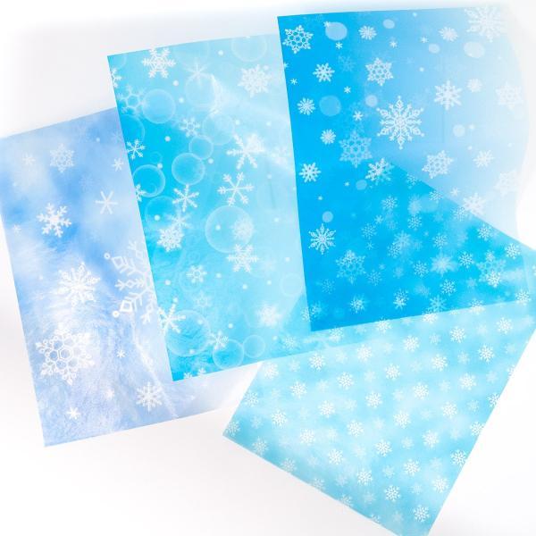 37%off 新作デザイングラシン紙 雪の結晶 グリッター フルーツ A4サイズ 半透明薄葉紙 ラッピング トランスパレントペーパー クリスマスセール 歳末セール sokana 02