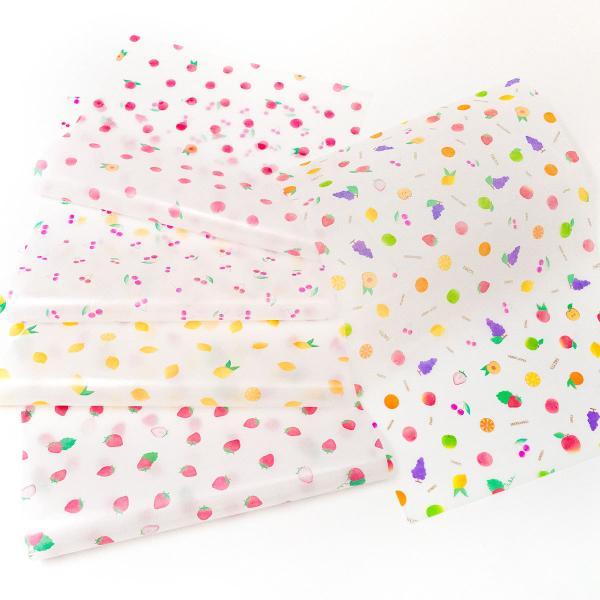 透けるフルーツ柄グラシン紙 A4 かわいい デザインペーパー ラッピング コラージュ デコパージュ いちご レモン さくらんぼ りんご|sokana