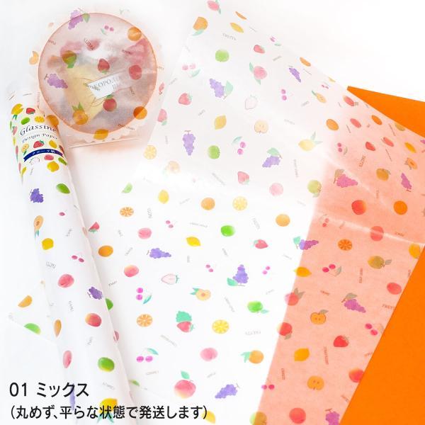 透けるフルーツ柄グラシン紙 A4 かわいい デザインペーパー ラッピング コラージュ デコパージュ いちご レモン さくらんぼ りんご|sokana|04