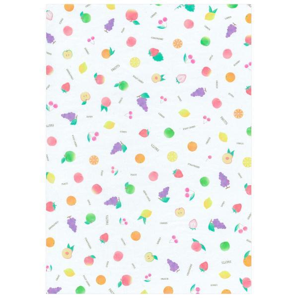 透けるフルーツ柄グラシン紙 A4 かわいい デザインペーパー ラッピング コラージュ デコパージュ いちご レモン さくらんぼ りんご|sokana|05