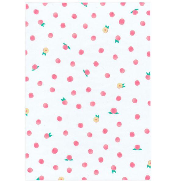 透けるフルーツ柄グラシン紙 A4 かわいい デザインペーパー ラッピング コラージュ デコパージュ いちご レモン さくらんぼ りんご|sokana|08
