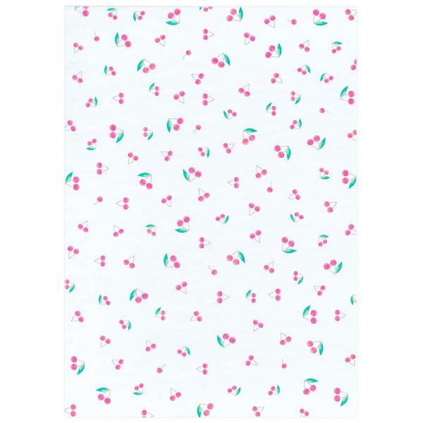 透けるフルーツ柄グラシン紙 A4 かわいい デザインペーパー ラッピング コラージュ デコパージュ いちご レモン さくらんぼ りんご|sokana|09