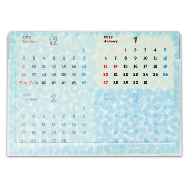 2019年版 グラシン卓上カレンダー 4ヶ月表示|sokana|02
