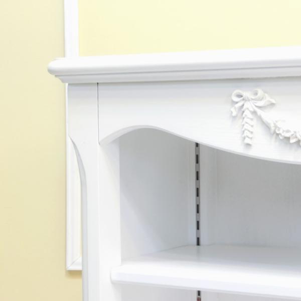ブックシェルフ アンティーク 本棚 オープンブックケース 白家具 姫家具 レトロ 猫足 クラシック 5083-S-18 sokkuriichiba 05