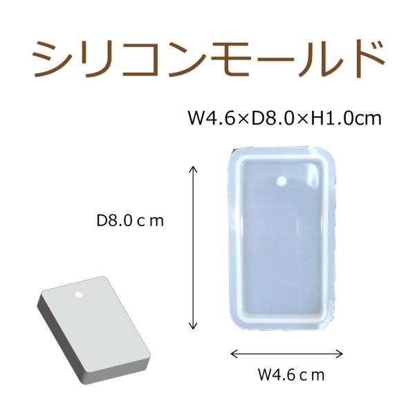 シリコンモールド レジン シリコーン型 長方形プレート 穴あき 1個 70mm×35mm ハンドクラフト 固まるハーバリウム