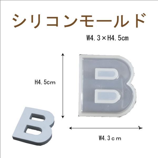 シリコンモールド レジン シリコン型 アルファベット B 1個 40mm×37mm 固まるハーバリウム