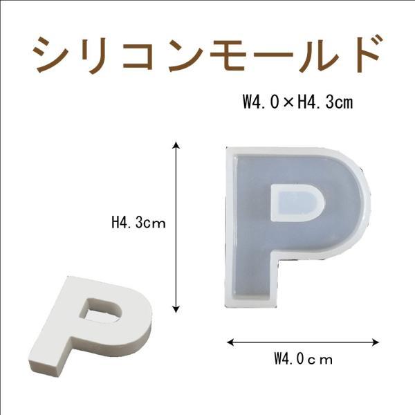 シリコンモールド レジン シリコン型 アルファベット P 1個 40mm×36mm 固まるハーバリウム
