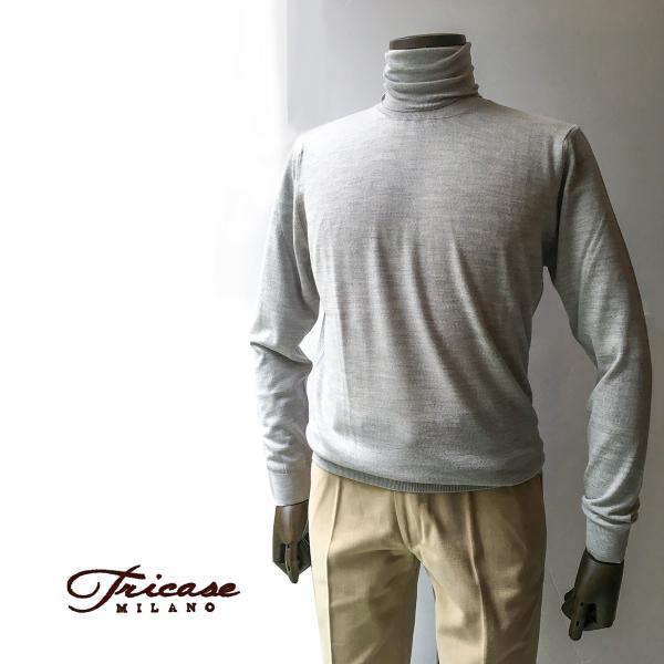 タートルネックセーター ニット メンズ カジュアル ブランド TRICASE トリカーゼ ウール グレー|solfiglio