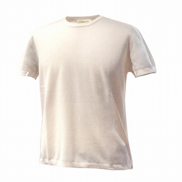 ニットTシャツ メンズ ブランド 鹿の子 春夏 カシミヤ アイボリー スカイブルー TRICASE|solfiglio