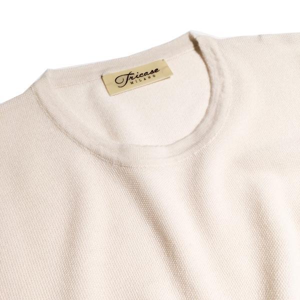 ニットTシャツ メンズ ブランド 鹿の子 春夏 カシミヤ アイボリー スカイブルー TRICASE|solfiglio|03
