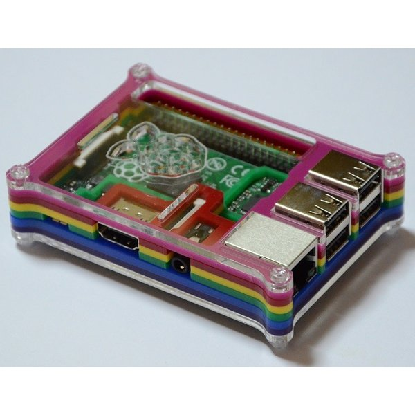 Raspberry Pi B+用ケース(レインボーカラー)組み立てキット 配線しやすいタイプ【今なら特典つき】 solinnovay