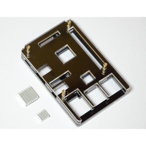 Raspberry Pi 2 model B用 配線しやすい薄型ケース(液晶固定用ネジつき) ブラック|solinnovay