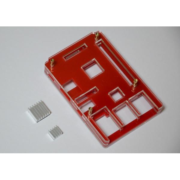 Raspberry Pi 2 model B用 配線しやすい薄型ケース(液晶固定用ネジつき) レッド solinnovay