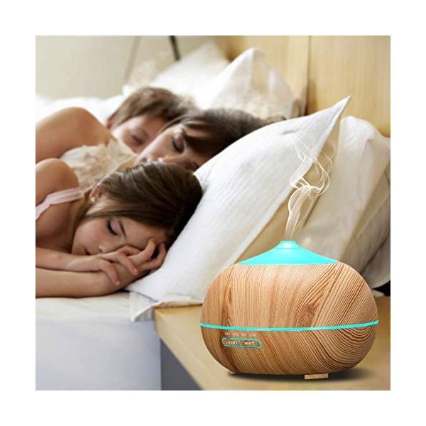 Tenswall アロマディフューザー 超音波式 加湿器 400ml大容量 7色変換LED搭載 空焚き防止機能搭載 アロマ加湿器 時間設定|sonanoa|02