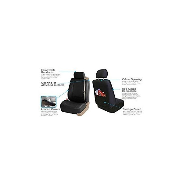 Set Built in Seat Belt Compatible Airbag Ready Set of 2 FH Group PU309BLACK102 Black Front PU Leather Seat Cover