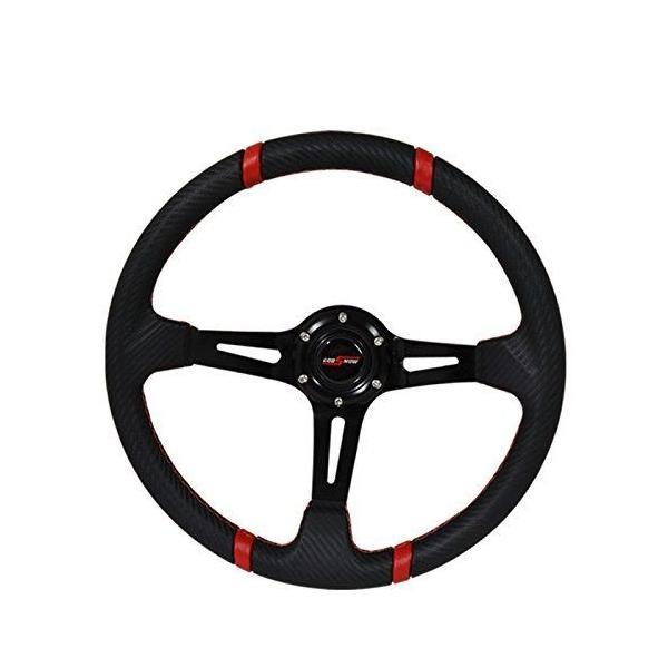 350mm Deep Dish 6 Bolt Steering Wheel Universal Custom Red